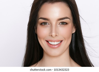 Beauty skin and hair female, healthy teeth and happy woman close up face portrait with emotions