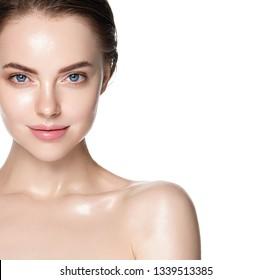 Beauty skin healthy beautiful hair woman face closeup clean skin natural makeup