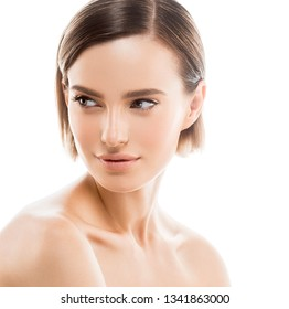 Beauty skin woman blonde hair clean natural makeup isolated on white face macro closeup