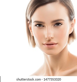Beauty skin woman close up face healthy skin isolated on white