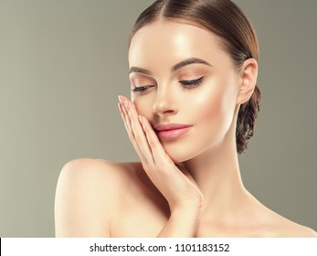 Beauty skin woman face close up healthy skin care