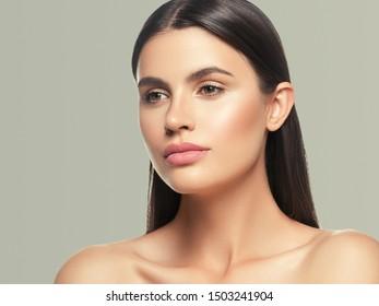 Beauty skin woman face healthy skin beautiful model close up face natural makeup brunette hair
