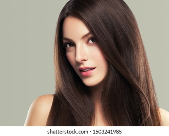 Beauty skin woman face healthy skin beautiful model close up face natural makeup brunette hair