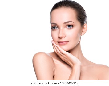Beauty skin woman healthy hair and skin care young girl model