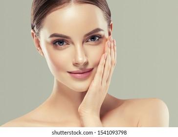 Beauty skin woman healthy skin and hairnatural makeup model