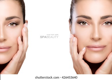 Beauty and skincare concept with two face portraits of a beautiful young woman with a flawless smooth complexion, isolated on white with copy space in the middle and sample text. Template design