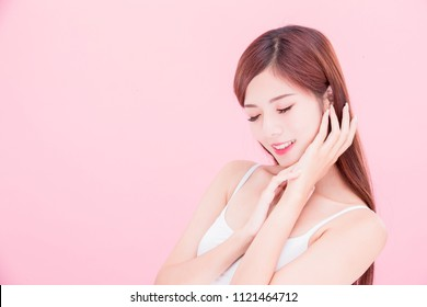 beauty skincare woman smile happily on the pink background