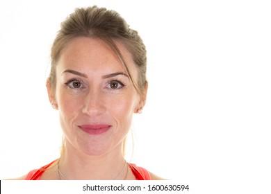 beauty slim pretty girl smile portrait woman face no expression aside white copy space