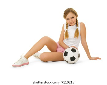 beauty with soccer ball isolated on white background