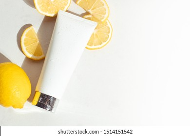beauty spa medical skincare and cosmetic lotion bottle cream packaging product on white decor background with lemon food fruit vitamin c herb extract