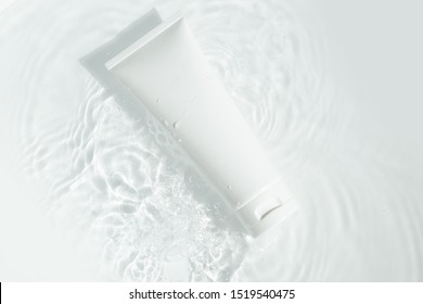 beauty spa medical skincare and cosmetic lotion bottle cream packaging product on white decor background with summer water pool fresh concept, medicine serum for anti-aging collagen facial, cleansing - Shutterstock ID 1519540475