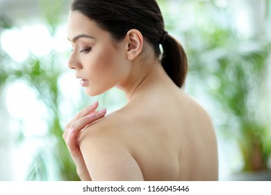 Beauty and spa. Woman with soft skin