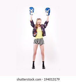 beauty sport girl hand up with box