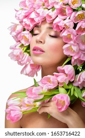 Beauty Spring Girl with Flowers Hair Style.  Spring Flower.Springtime.