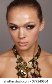 Beauty spring make up for woman bronze portrait. Beauty. Gold skin. Fashion.