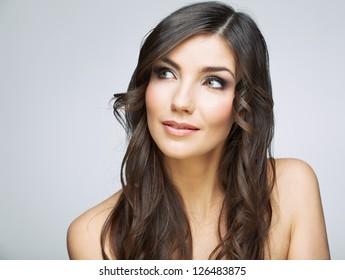 Beauty style female portrait. Smiling woman face close up.