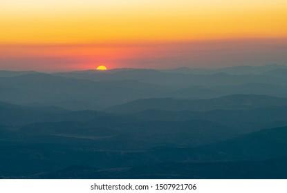 Beauty  sunrise or sunset, mountain landscape Crimea, horizontal photo