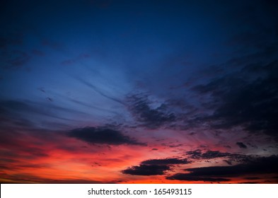 beauty sunset with blue and red clouds