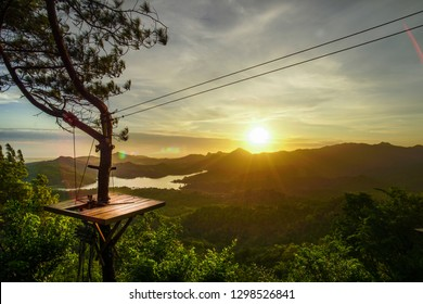 The beauty of the sunset in Kalibiru is an alternative if you want to enjoy the beauty of the sunset with the background of the forest and the lake.