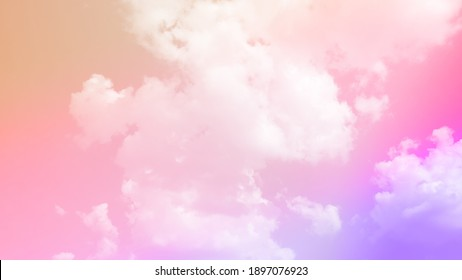beauty sweet pastel soft pink with fluffy clouds on sky. multi color rainbow image. abstract fantasy growing light