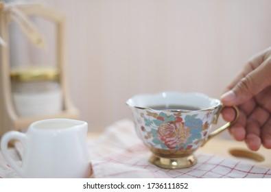 A beauty teacup on the table