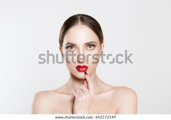 306c7cf44c9 Beauty thinking. Closeup portrait Woman girl natural nude makeup false  eyelashes red lips looking at