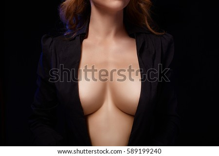 Beauty topless woman body covering her big breast