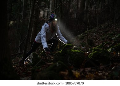 Beauty tourist woman with headlight in the forest