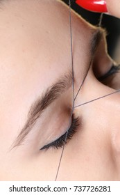 Beauty treatment, eyebrow correction model, eyes, eyelashes, thread