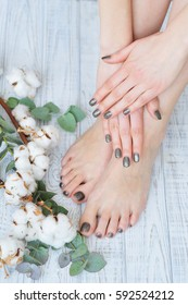 Beauty treatment for woman finger and toe nails, natural organic cosmetics
