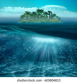 Beauty tropical island in the blue ocean with underwater landscape