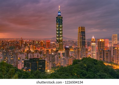 Beauty twilight Taiwan central business downtown night view, cityscape background