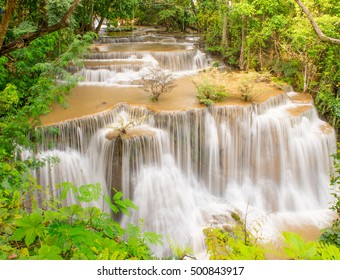 """The beauty of the view flowing waterfalls cascaded down the top layer of a few, A limestone waterfall Rock Falls area will not slip ,""""Huay Kamin"""" is one of the most beautiful waterfalls in Thailand"""