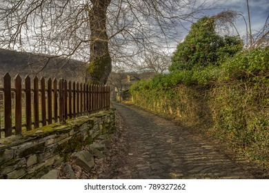 Beauty view at old stone street and fence in ancient village