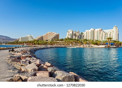 Beauty view on Eilat from pier at Red Sea. Eilat, Israel