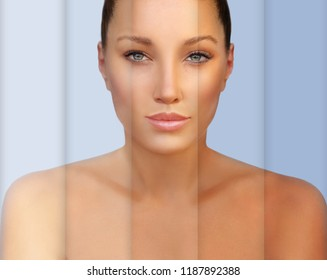 Beauty visual about suntan. Model's face divided in parts - tanned and natural.Different tones of tan