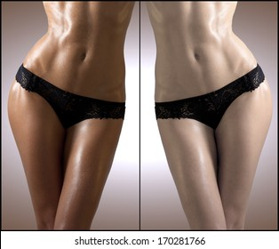 Beauty visual about suntan. Model's body divided in two parts - tanned and natural.