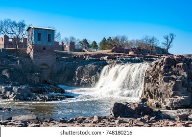Beauty of water falls nature in Sioux Falls, South Dakota, USA