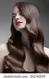 beauty wavy shiny hair