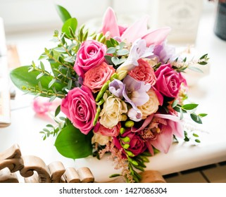 beauty wedding bouquet with roses