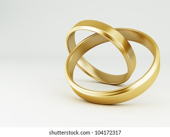 The beauty wedding gold rings on white background