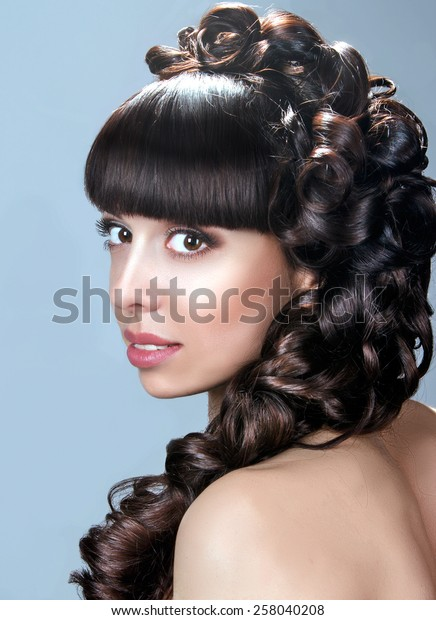 Beauty Wedding Hairdo Curly Hair Hairstyle Stock Photo Edit