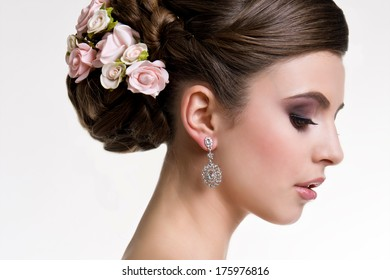 Beauty wedding hairstyle. Bride