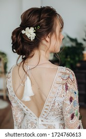Beauty wedding hairstyle. Bride. brown hair girl with curly hair