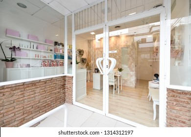 Beauty, wellness and spa salon entrance. Aesthetic concept