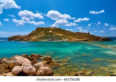 The beauty of White Rocks Beach, next to Platis Gialos Beach in Lassi (Argostoli) ; Kefalonia island in Greece.