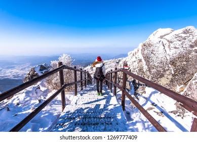 beauty of winter at deogyusan mountain in muju city south Korea