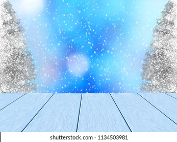 Beauty winter design. Blue wood planks, in the background blurred bokeh, snowy pine and snowfall. Space for the text.