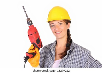 Beauty woman with auger on white background