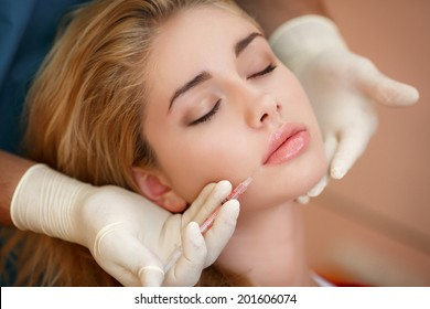 Beauty woman botox injections. Treatment with hyaluronic collagen. Cosmetology. Female in beauty salon. plastic surgery clinic.
